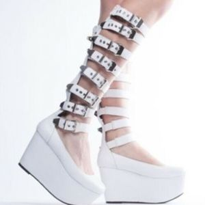 THICK Platform ballet white buckle up shoes 9/9.5